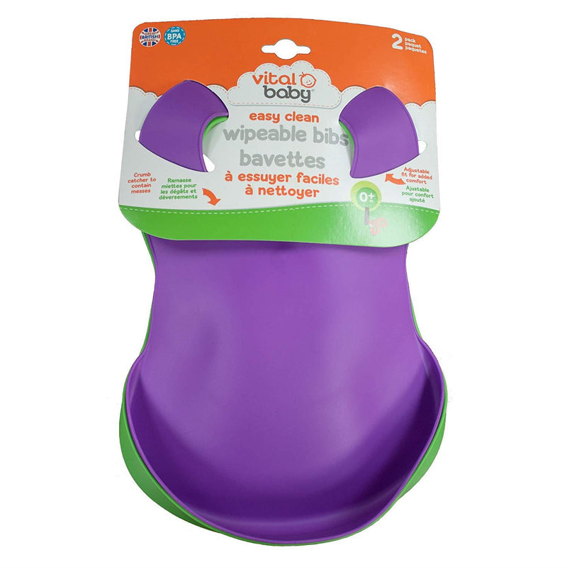 Feeding, Bibs and Burp Cloths, Vital Baby, Vital Baby Easy Clean Wipeable Bibs, Easy Clean Wipeable Bibs, Wipeable Bibs, Easy Clean Bibs, Bibs, Vital Baby Easy Clean Wipeable Bibs - Green and Purple, Vital Baby Easy Clean Wipeable Bibs - Green and Blue, 7