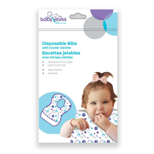 Baby Works, Disposable Bibs, disposable bibs, bib, baby bib, disposable baby, throwaway bib, bib set, crumb catcher