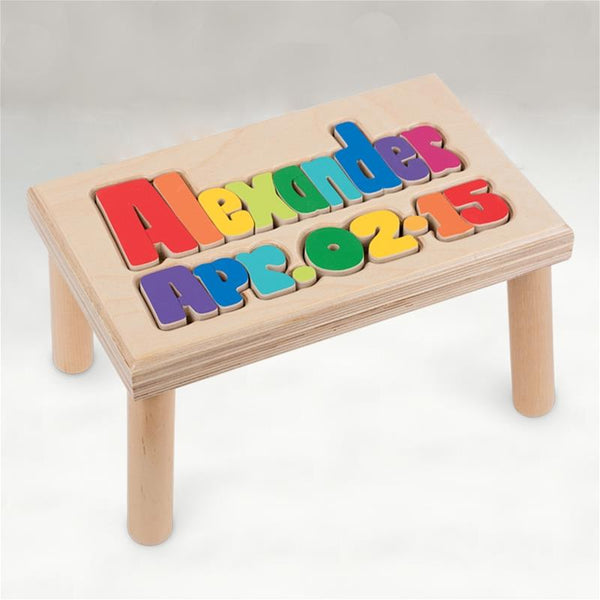 Personalized Name & Birthday Wooden Stool