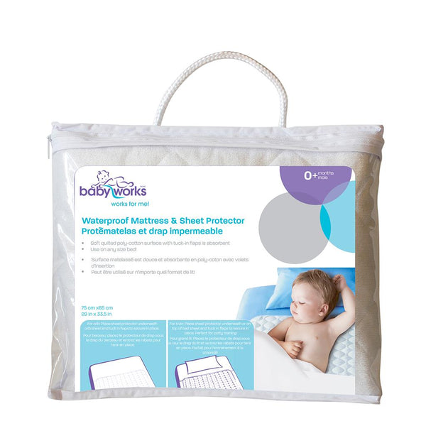 baby works, bedtime, bed time, sheet protector, bed protector, pee, accident protector, waterproof mattress, waterproof sheet
