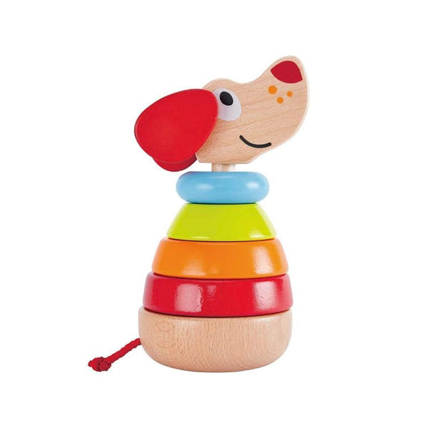Hape, stacker, pepe, sound stacker, rainbow wood, infant stacker, wooden rings, rings, dog, puppy