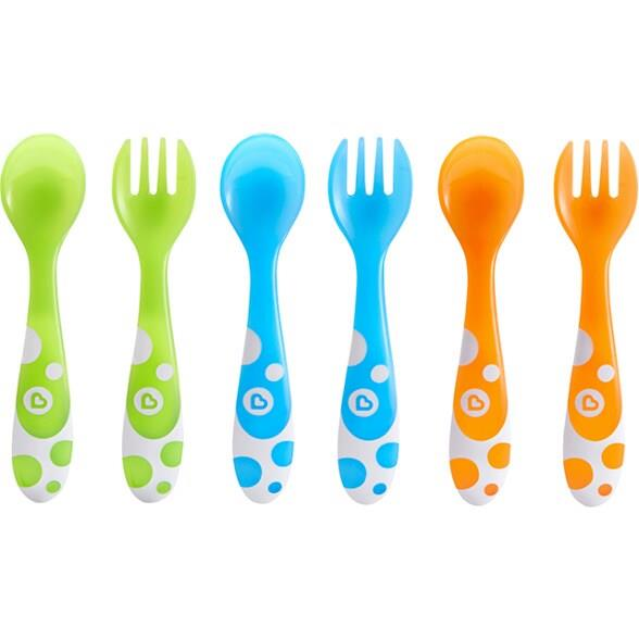 Feeding time can be a bonding experience but before long your lil one will want to take charge during meals. The Munchkin Forks and Spoon 6 Pack includes a bright and durable set of self-feeding utensils. Notice the large curved handles, which are designe