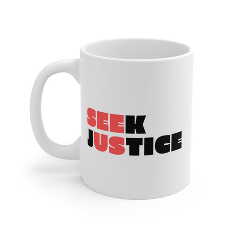 SEEK JUSTICE (SEE US) - Left Handed White Ceramic Mug