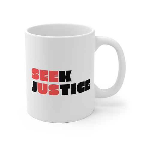 SEEK JUSTICE (SEE US) - Right Handed White Ceramic Mug