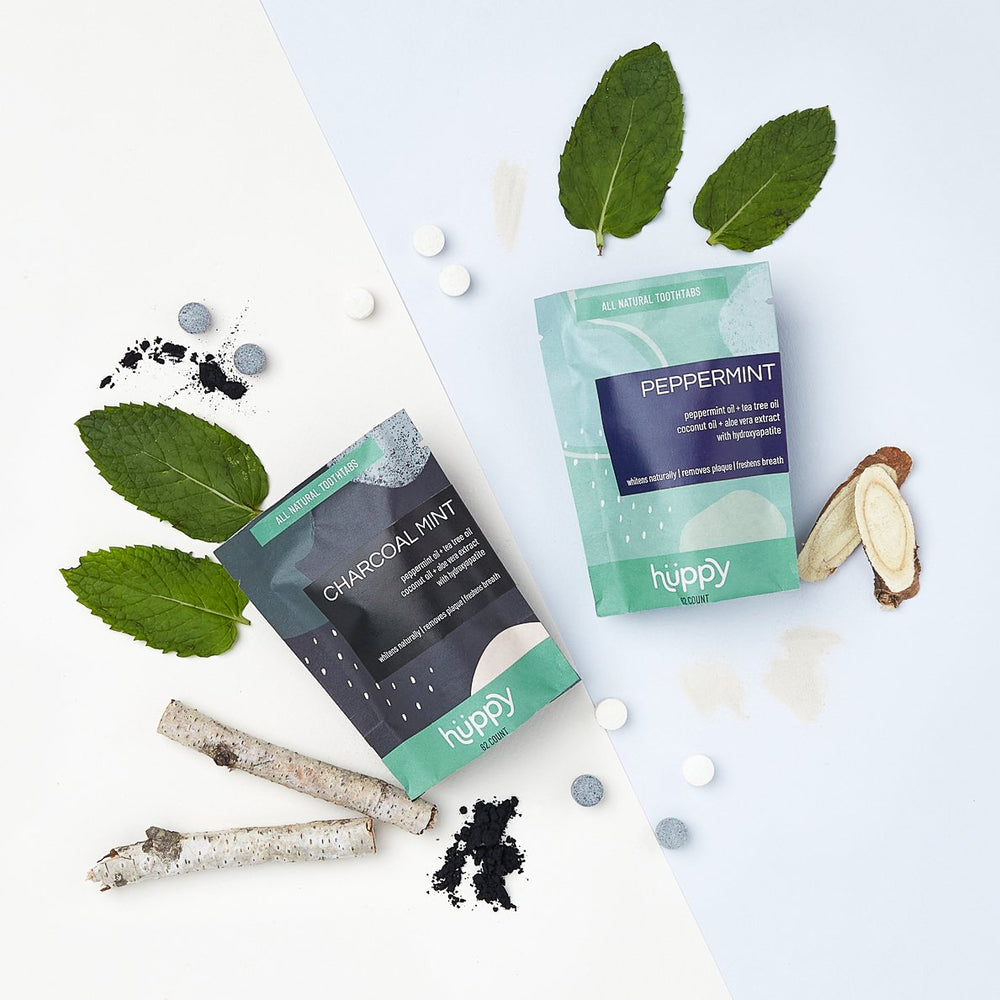 Duo Peppermint and charcoal toothpaste tablets with ingredients
