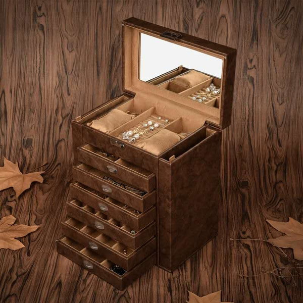 LARGE JEWELRY ORGANIZER, 7 LAYER LEATHER JEWELRY BOX