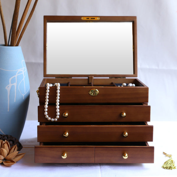Wooden vintage jewelry box with lock