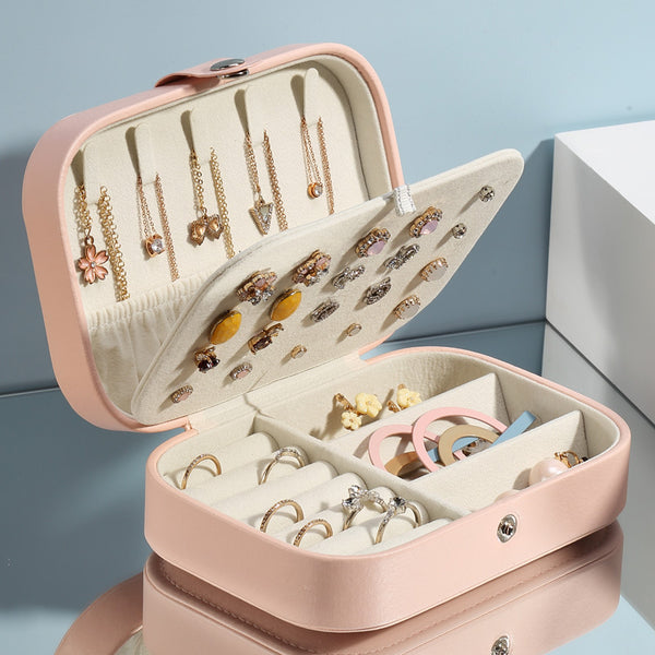 Jewelry storage box female travel portable hand jewelry exquisite small box portable earrings earrings earrings bag