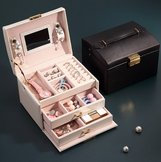 PORTABLE 3 LAYERS JEWELRY BOX WITH LOCK AND MIRROR
