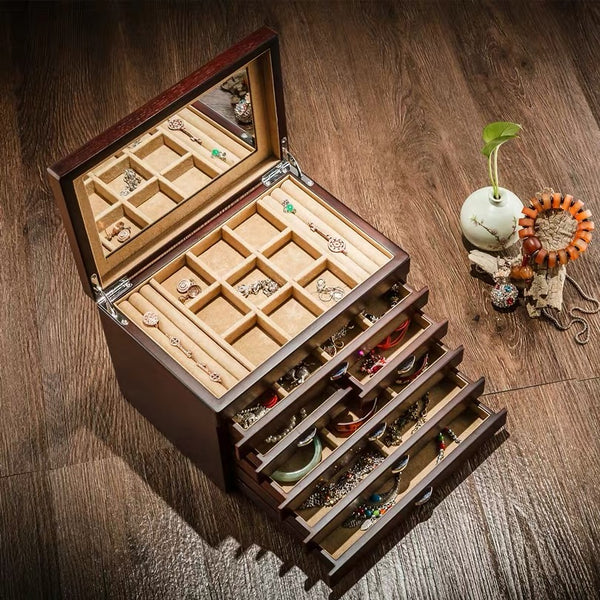 VINTAGE 6 LAYERS WOODEN JEWELRY BOX WITH MIRROR HIGH CAPACITY JEWELLERY ORGANIZER BOX