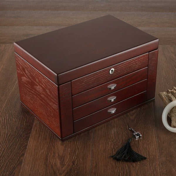 LARGE WOMEN WOODEN 4 LAYERS JEWELRY BOX, BUILT-IN MIRROR AND LOCK