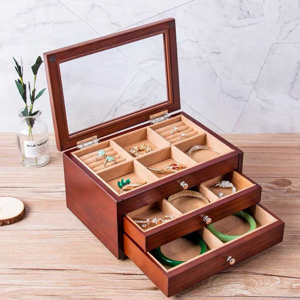 3 LAYERS WOODEN JEWELRY STORAGE BOX COSMETIC ORGANIZER