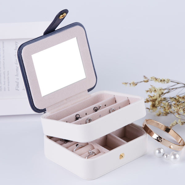 Portable Jewelry Organizer Box Accessories Holder -With Mirror