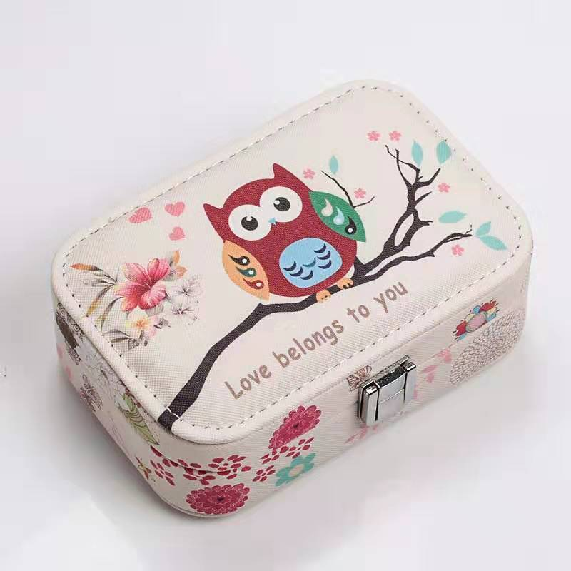 Princess Portable Jewelry Box Owl Jewelry Box With Mirror - Nillishome