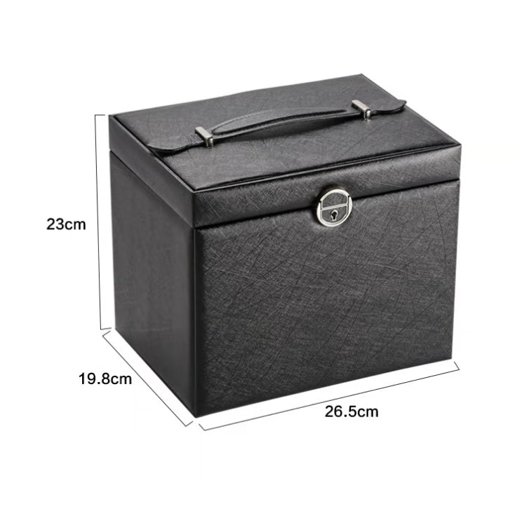 Lockable Five Layer Leather Jewelry box with Mirror . Portable Travel Case - Nillishome