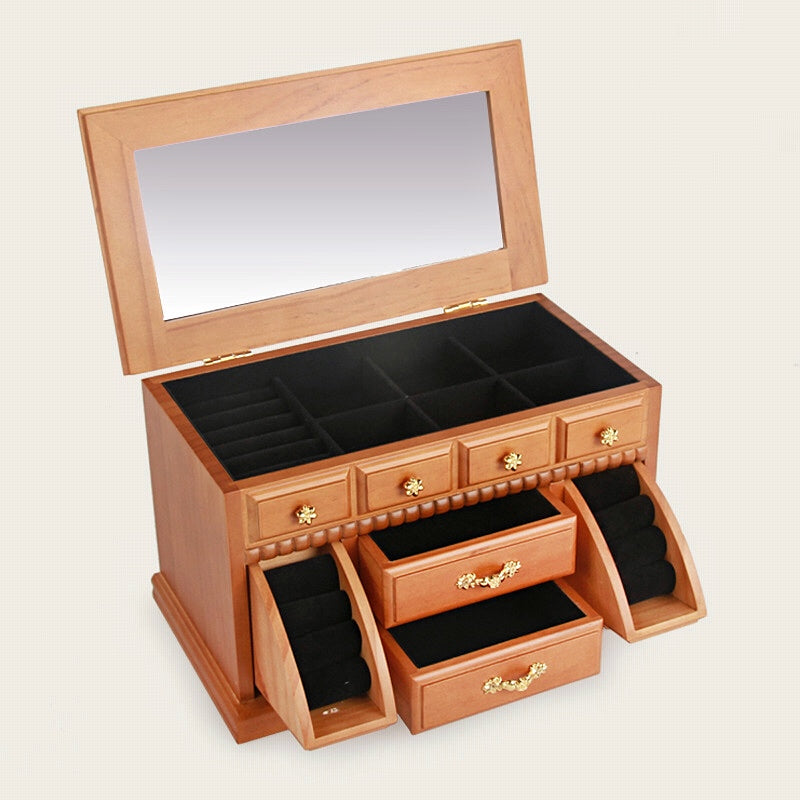 Mirrored Wooden Jewelry Box Organizer Vintage Gift Case - Nillishome