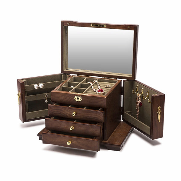 Hardwood Large Wooden Jewelry Box Organizer with Mirror and Lock