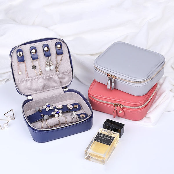 Solid Color Portable Double Zipper Travel Jewelry Organizer Small Jewelry Box
