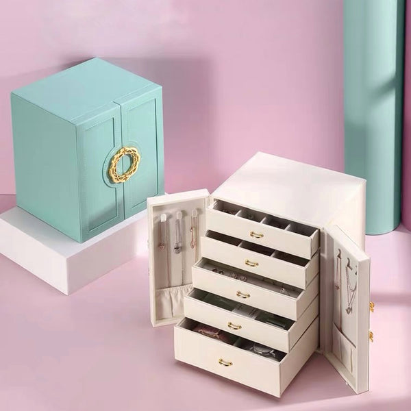 5 Drawers Large Jewelry Box Make Up Storage Case - Nillishome