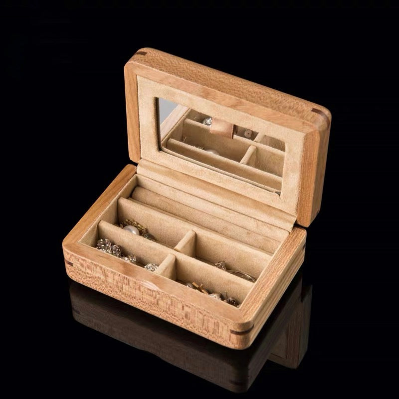 Wood Jewelry Box, Portable Travel Jewellery Organiser Storage Case With Mirror - Nillishome