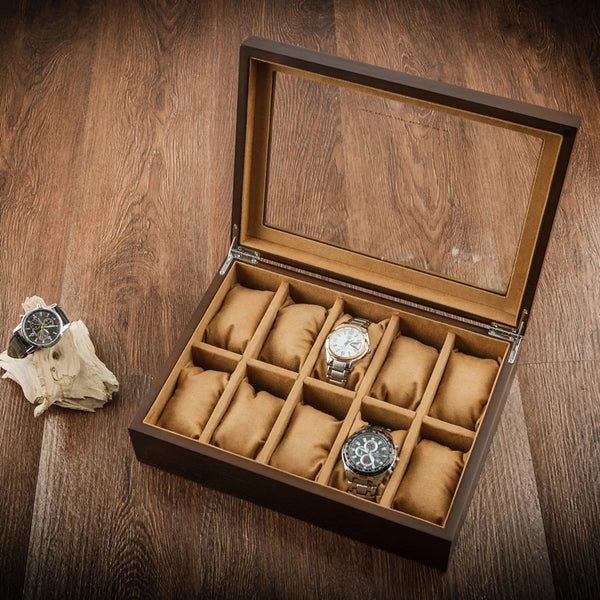 Wooden Watch Organizer 10 Slots  Large Glass Top .Jewelry Storage Case - Nillishome