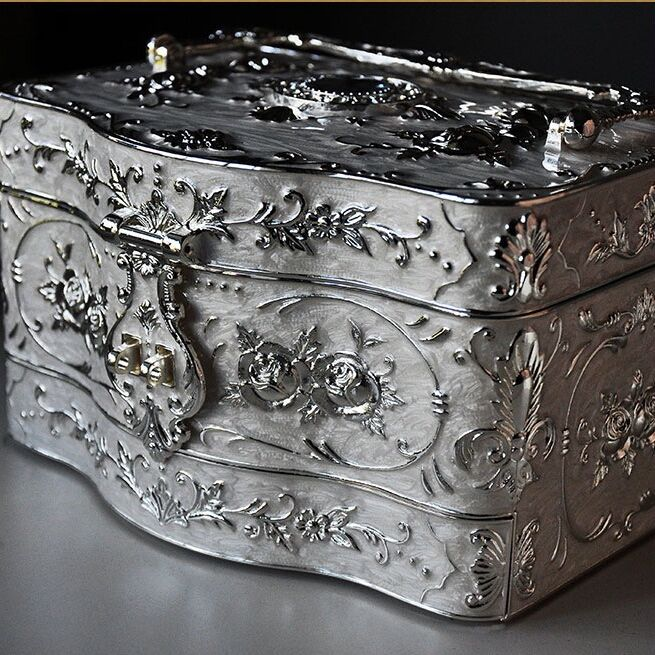 Vintage 3 Layers Jewelry Box Ornate Antique Finish Engraved with Lock Organizer Box