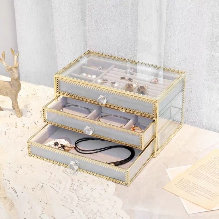 Metal glass jewelry cosmetics storage box with cream velvet tray 3 layers