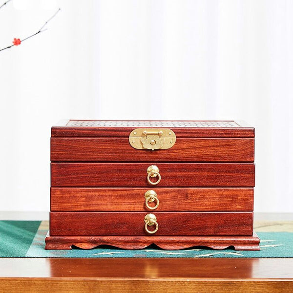 4 Layers Large Capacity Wooden Jewelry Box With Mirror . Dresser Desktop Storage Jewelry Organizer