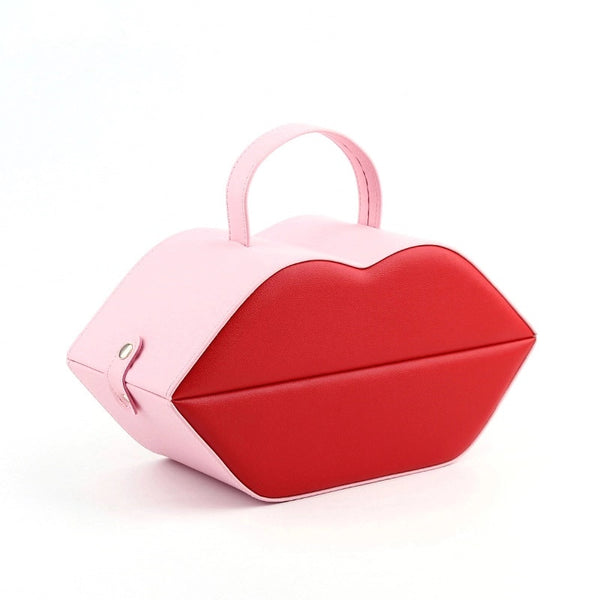 Red Lip Shape Jewelry Box Jewelry Organizer With Mirror