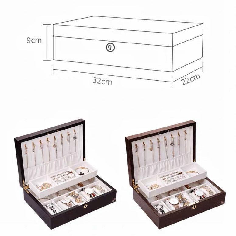 Wooden Jewelry Watch Box  With Lock Jewelry Display Double Layer