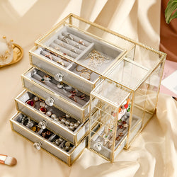 Glass Mirrored Jewelry Cosmetics Box Vintage Metal Edge Brass Jewelry Organizer - Nillishome