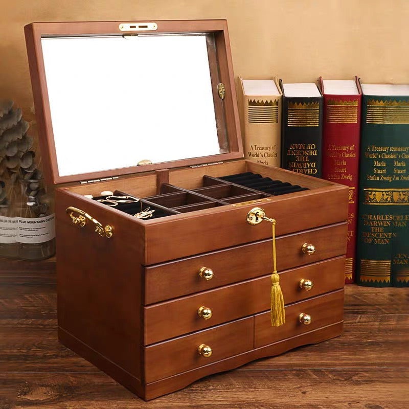Large Wooden 4 Layers Jewelry Box,Built-in Mirror and Lock