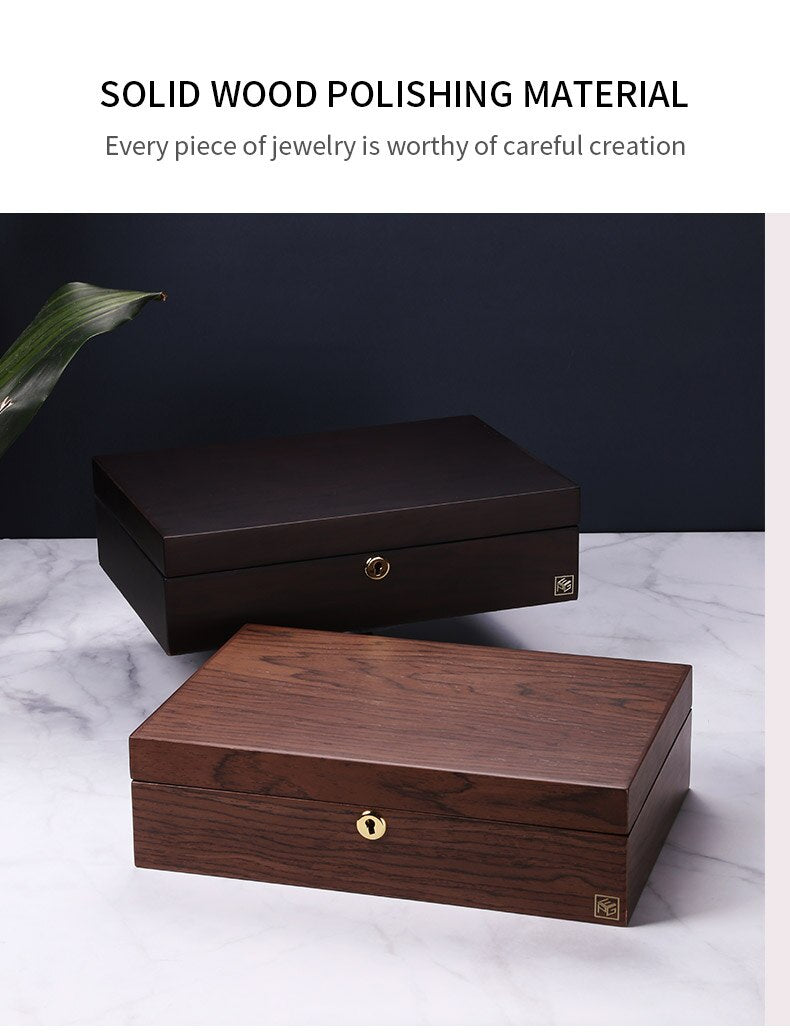 Wooden Jewelry Watch Box  With Lock Jewelry Display Double Layer - Nillishome