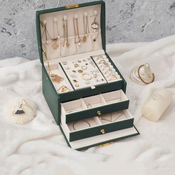 3 Layers Jewelry Box With Lock , Storage Organizer Jewelry Travel Box