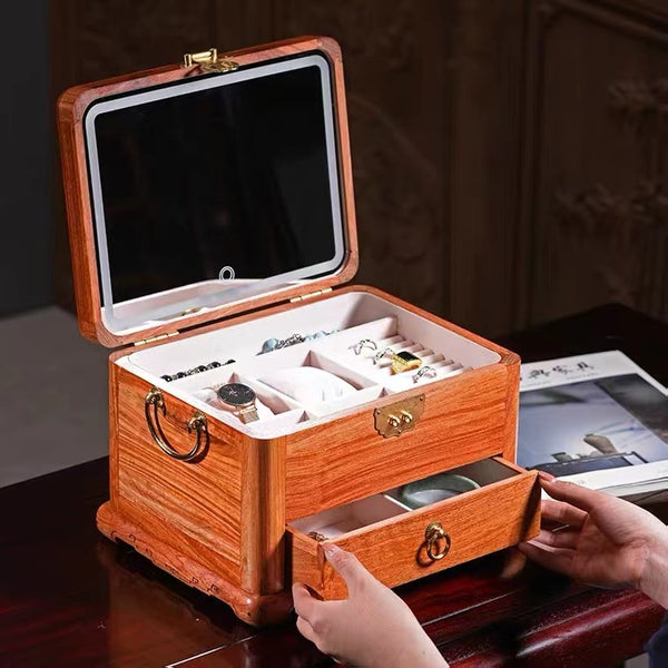 Life Style 4 Layers Wooden Jewelry Box Drawer Type Jewelry Organizer With Mirror - Nillishome