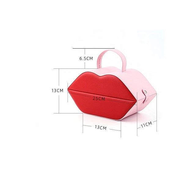Red Lip Shape Jewelry Box Jewelry Organizer With Mirror - Nillishome