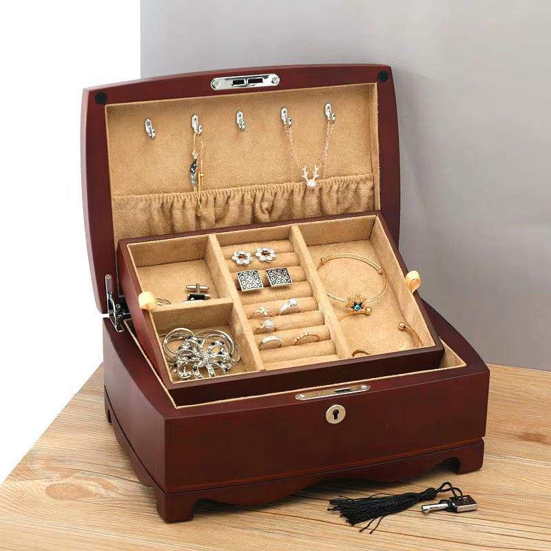 Double Layers Wooden Vintage Jewelry Storage Box With Key