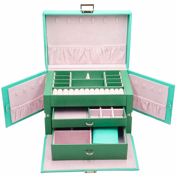 Large 3 Layers Jewelry box with 2 Drawers, Portable Travel Case