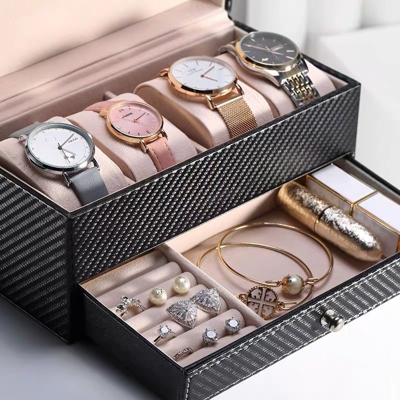 4 Slots Luxury Watch Case Organizer with Drawer Double Layer Jewelry Box - Nillishome