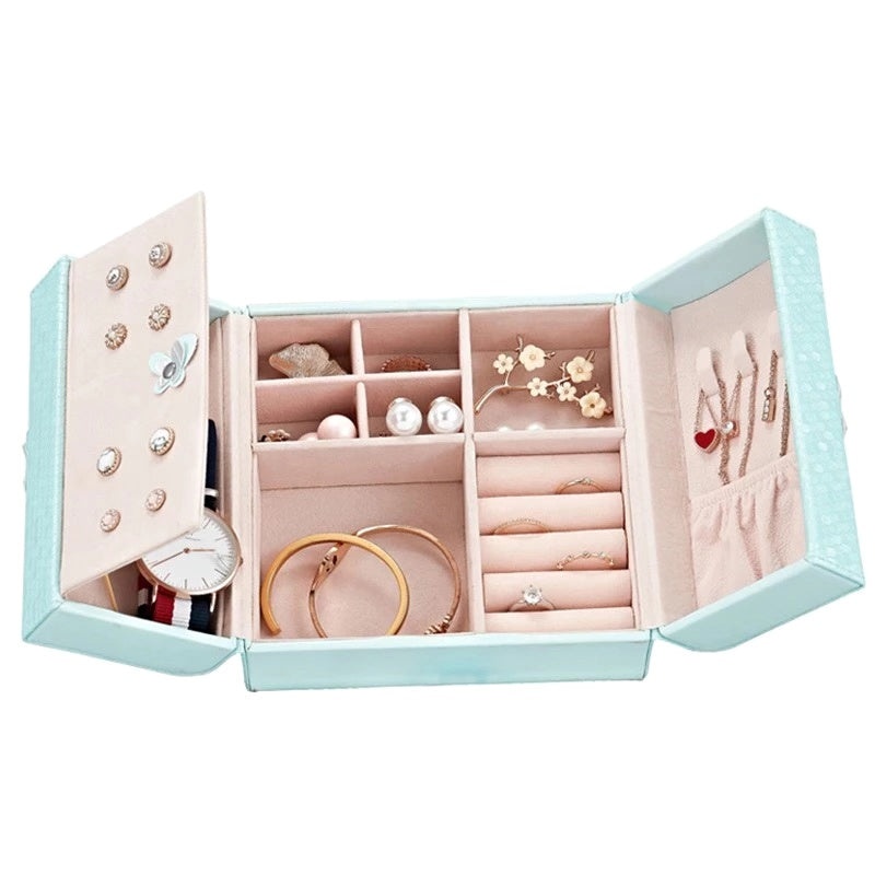 Travel Portable Jewelry Box  with Butterfly Magnetic Opening
