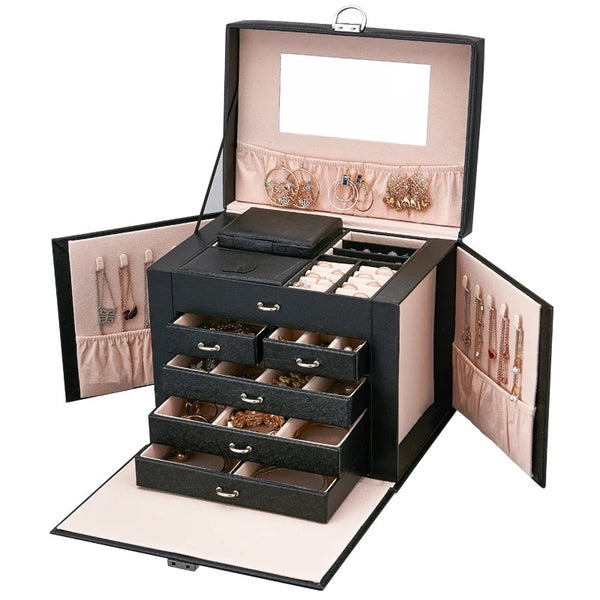Lockable Five Layer Leather Jewelry box with Mirror . Portable Travel Case