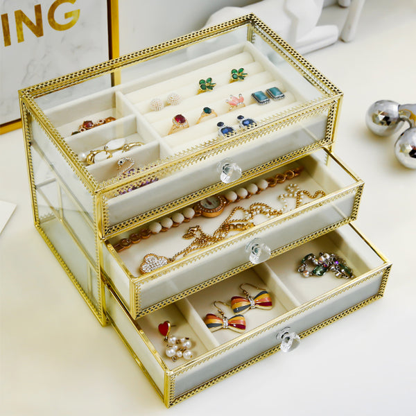 Metal glass jewelry cosmetics storage box with cream velvet tray 3 layers - Nillishome