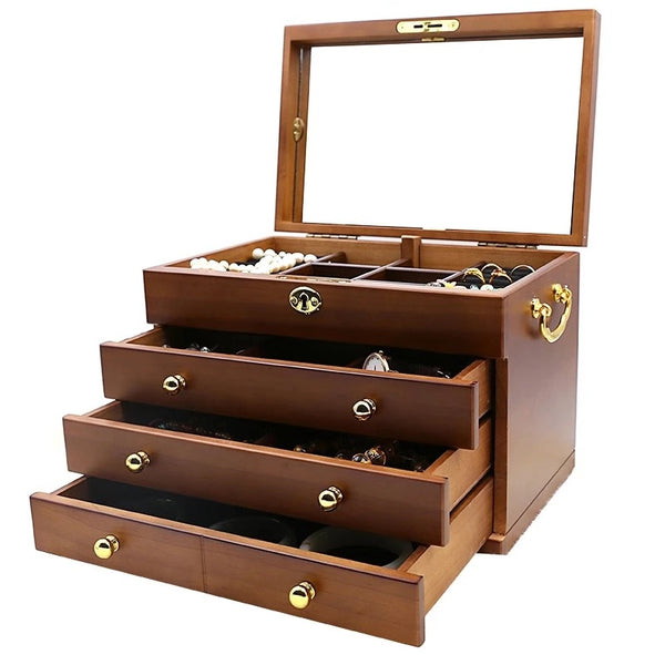 Large Wooden 4 Layers Jewelry Box,Built-in Mirror and Lock - Nillishome