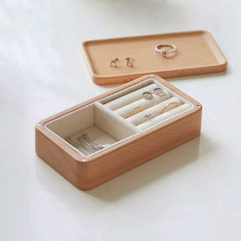 Travel Jewelry Box Wooden Small Jewelry Organizer Magnet Cover Give a Small Mirror - Nillishome