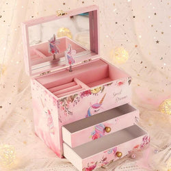 Unicorn Music Box & Little Girls Jewelry Set With Mirror