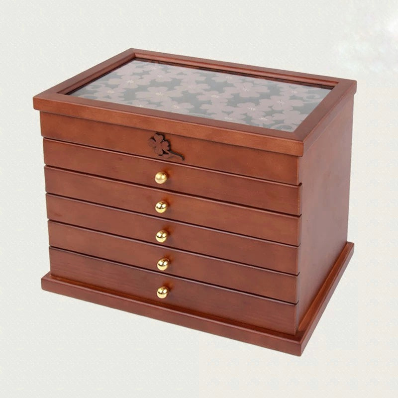 6 Layers Wooden Jewelry Box Case  Jewelry organizer - Nillishome