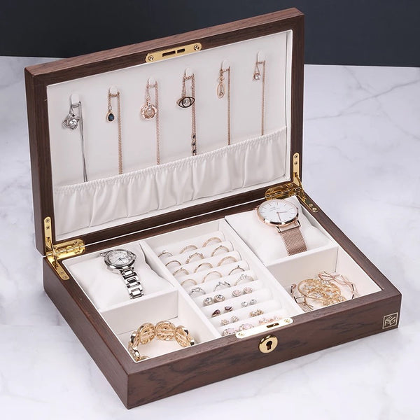 Wooden Box Jewelry Watch Organizer With Lock - Nillishome