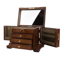 Hardwood Large Wooden Jewelry Box Organizer with Mirror and Lock - Nillishome
