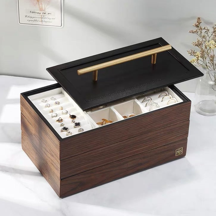 Brass Luxury Large Walnut  Wooden 3 Layers Jewelry Box - Nillishome