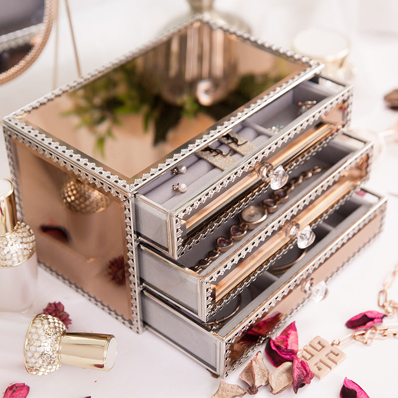 Champagne Rose Gold Metal Glass 3 Drawers Jewelry Box Vintage Jewelry Organizer - Nillishome